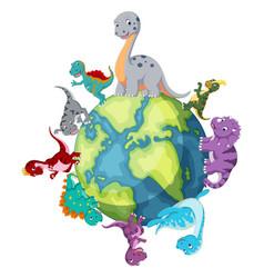dinosaur standing around the world vector image