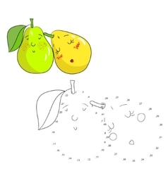 Educational game connect dots draw pear vector