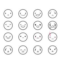 Emoticons doodle round 2 vector