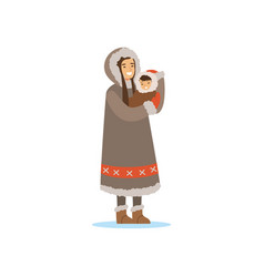 Eskimo inuit chukchi woman in traditional vector