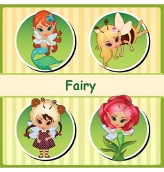 Four cute fairies - mermaid bee lamb and flower vector