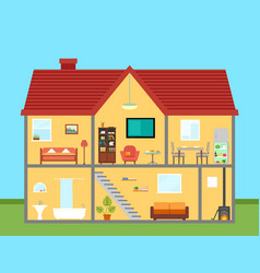 furniture on house in cut with furnishing rooms vector image