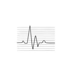 Heart beat cardiogram sketch icon vector image