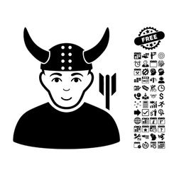 Horned warrior flat icon with bonus vector