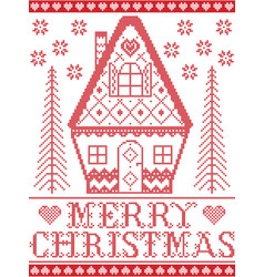 Merry christmas nordic gingerbread house pattern vector