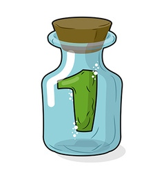 Number 1 in bottle for experiments Figure in vector image vector image