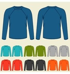 Set of colored long sleeve shirts templates for vector image vector image