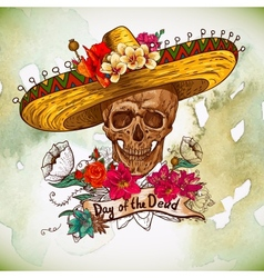 Skull in sombrero with flowers day of the dead vector