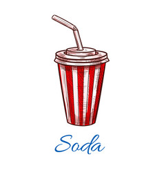 Soda drink striped fast food paper cup icon vector