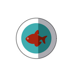 Sticker old blue circular border with fish vector