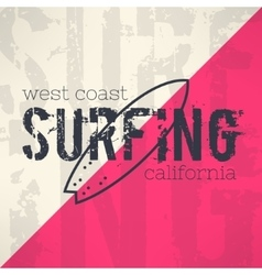 Surf typography in grunge design with vector