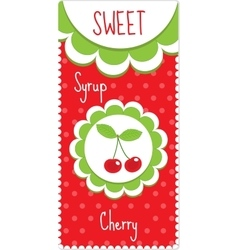 Sweet fruit labels for drinks syrup jam cherry vector