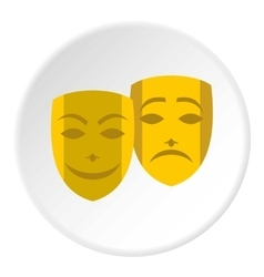 Theatrical masks icon flat style vector