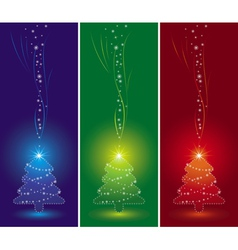 three christmas trees and snowflakes vector image