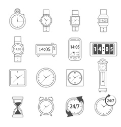 Time Icons Outline vector image vector image