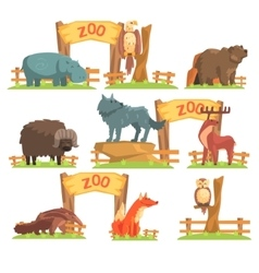 Wild animals behind the fence in zoo set vector