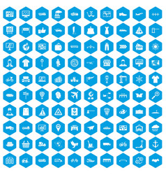 100 logistic and delivery icons set blue vector image