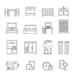 Furniture line icons set vector image