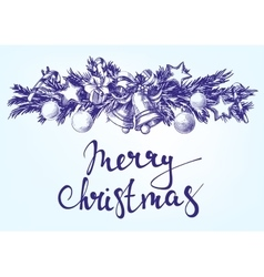 Christmas background with fir twigs and balls hand vector