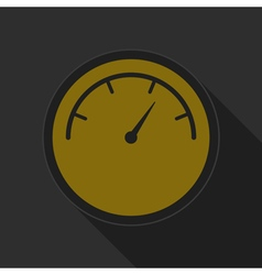 Yellow round button with black dial symbol icon vector