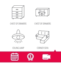 Corner sofa ceiling lamp and chest icons vector