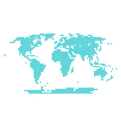 Dotted world map round point vector