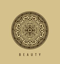 Round calligraphic emblem floral symbol vector