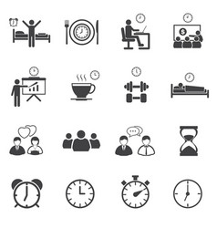 Business time and daily routine icon set vector