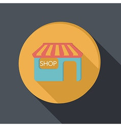 Paper flat icon shop building vector
