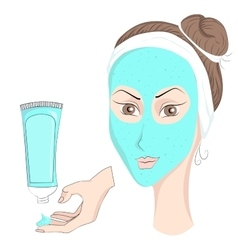 Girl with make up face mask vector