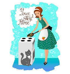 Woman preparing food vintage vector
