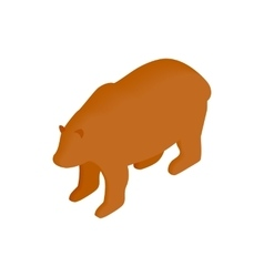 Brown bear isometric 3d icon vector