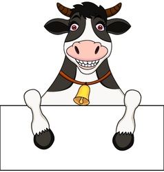 Cow with blank sign vector
