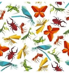 Colorful insects seamless pattern in origami style vector