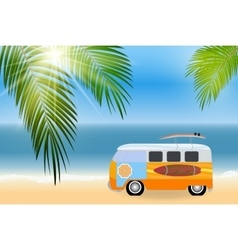 Cartoon van with surfboards standing in the road vector