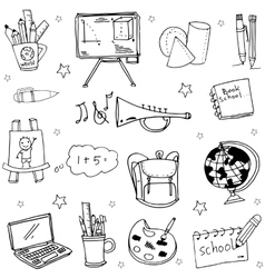 Hand draw school object doodles vector