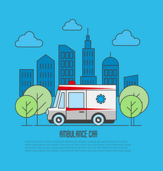 ambulance car in thin line style megapolis vector image vector image