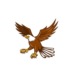 American eagle swooping isolated retro vector