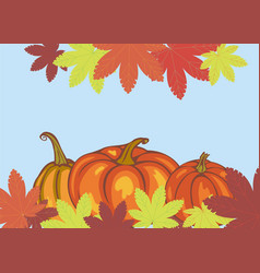 autumn leaves and pumpkins vector image vector image