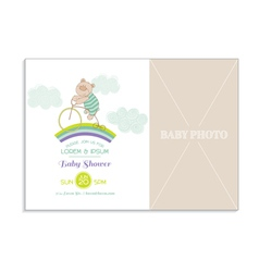 Baby shower card with photo frame vector