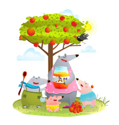 Bear family mother with kids eating apple jam vector