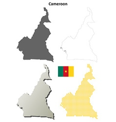 Cameroon outline map set vector