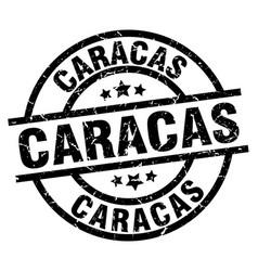 Caracas black round grunge stamp vector