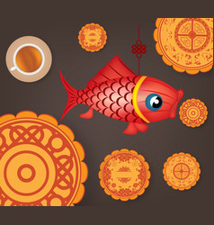 Chinese mid autumn festival background with carp vector