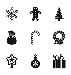 Christmas icons set simple style vector