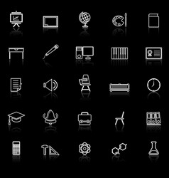 Classroom line icons with reflect on black vector