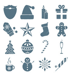 collection of winter and christmas icons vector image