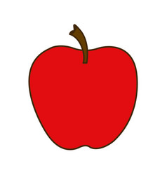 Colorful silhouette cartoon red apple fruit food vector