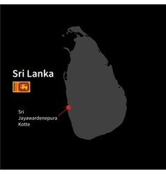 Detailed map of Sri Lanka and capital city Sri vector image