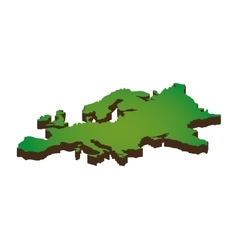 Europe map silhouette icon vector